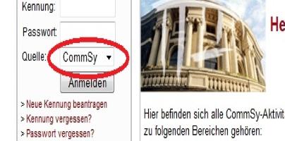 Screenshot Login-Feld CommSy