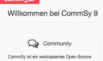 Bildschirmfoto Willkommen bei CommSy 9