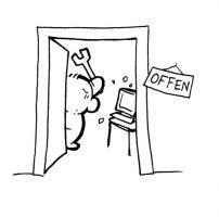 Zeichnung Männchen hinter offener Tür mit Schraubstock
