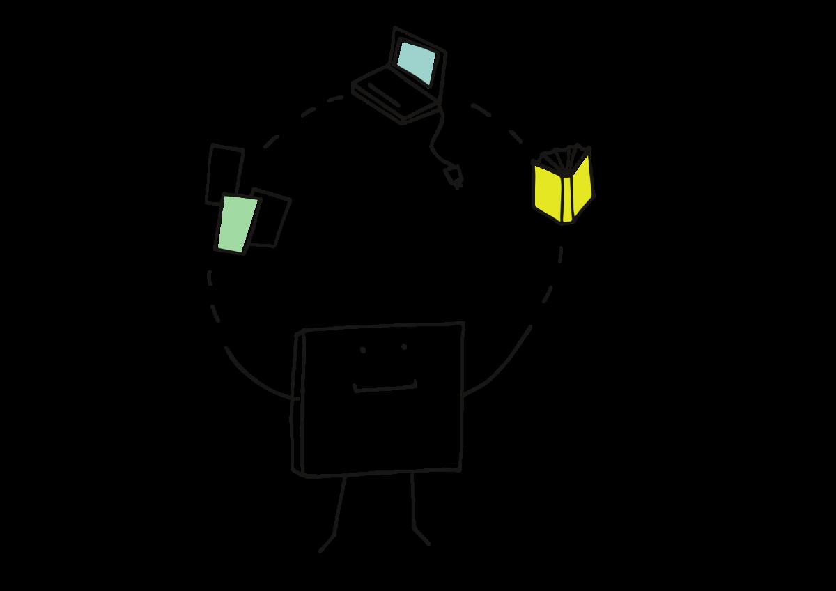 quadratisches Strichmännchen, dass ein Buch, einen Laptop und drei Blätter jongliert.
