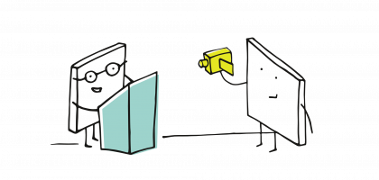 symbolische Strichmännchenszene