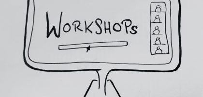 Eine schwarz-weiß-Zeichnung eines Computerbildschirms, auf dem rechts eine Leiste mit vereinfachten Bildern von Personen gezeichnet ist. Auf dem Bildschirm steht das Wort Workshops.