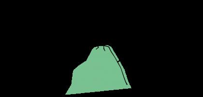 Ein quadratisches Strichmännchen steht auf einem Berg und schaut in die Ferne