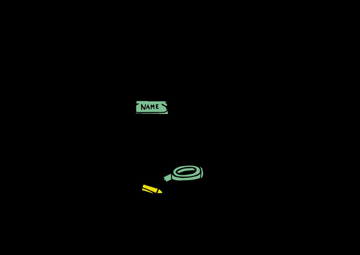 Ein quadratisches Strichmännchen klebt sich ein Namensschild an die Brust. Auf dem Boden liegt Klebeband und ein Stift.