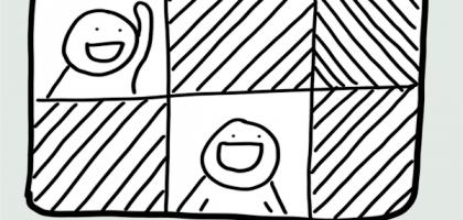 """Grafik mit einem Bildschirm, auf dem Gesichter und schwarze Felder zu sehen sind. Darüber steht """"Jeder, der..."""" für Videocalls."""