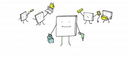 Ein quadratisches Wesen steht im Vordergrund. Es hält in der linken Hand einen werkzeugkoffer, in der rechten eine Bohrmaschine. Im Hintergrund sind vier quadratische Wesen erkennbar, die einen brennenden Laptop, ein Stromkabel, ein Paket und Computerzubehör halten.